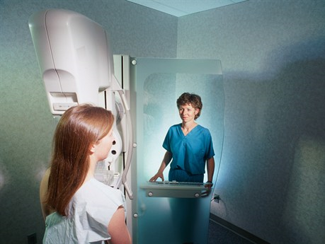 Photo of woman having a mammogram